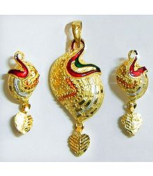 Gold Plated Meenakari Pendant with Earrings