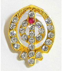 Stone Studded Khanda Pendant