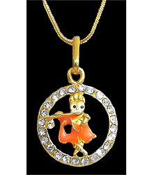 Gold Plated Pendant - Krishna in a Stone Studded Circle