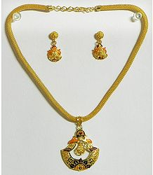 Gold Plated Jali Chain with Meenakari  Pendant and Earrings