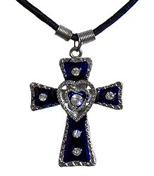Metal Cross Pendant with Black Cord