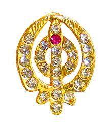 Stone Studded Golden Khanda Pendant
