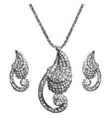 Faux Zirconia Pendant with Chain and Earrings