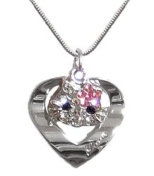 Stone Studded Heart Pendant