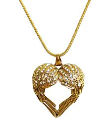 Stone Studded Heart Shaped Pendant with Golden Chain
