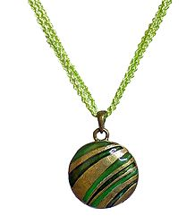Green with Yellow Disc Metal Pendant