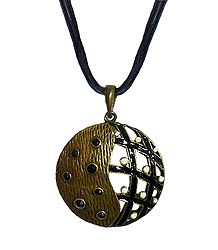 Black Corded Metal Round Pendant