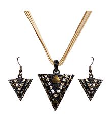 Triangle Shaped Pendant with White Cord and Earrings