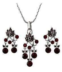 Faux Garnet Pendant and Earrings