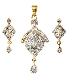Buy Faux Zirconia with Gold Plated Pendant Set