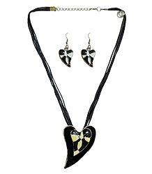 Heart Metal Pendant and Earrings