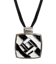 Black & White Rectangle Metal Pendant
