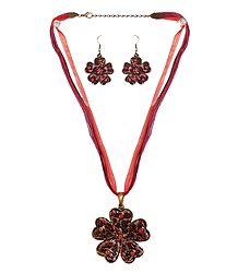 Metal Flower Pendant with Earrings