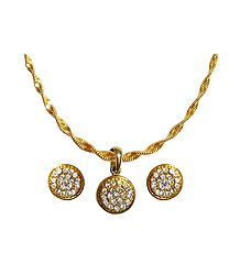 White Stone Studded Pendant with Gold Plated Chain