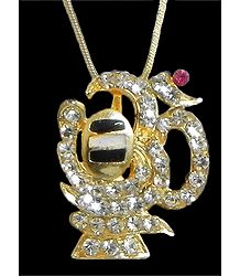 Gold Plated Pendant - Shivalinga Encompassed by Stone Studded Om