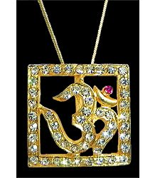 Gold Plated and Stone Studded Pendant - Om in a Square Frame