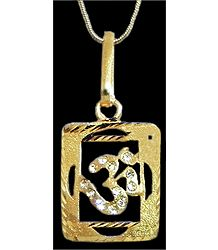 Gold Plated and Stone Studded Om Pendant in a Square Frame