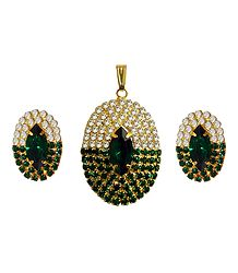 Faux Emerald and Zirconia Pendant and Earrings