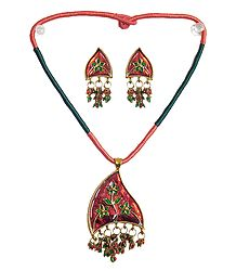 Floral Design Lacquered Metal Pendant and Earrings