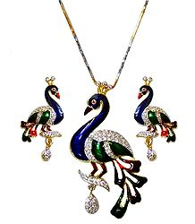 Gold Plated Chain with Faux White Zirconia Studded Peacock Pendant and Earrings