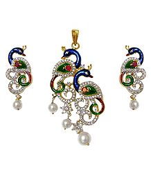 Faux White Zirconia Gold Plated Peacock Pendant and Earrings