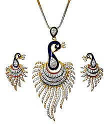 Gold Plated Chain with White Stone Studded Peacock Pendant and Earrings