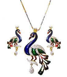 Gold Plated Peacock Pendant and Earrings