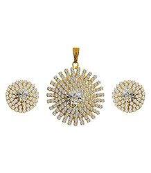 Faux Zirconia Studded Pendant Set