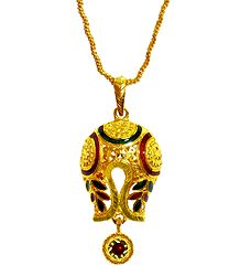 Gold Plated Chain with Laquered Pendant