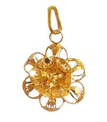 Gold Plated Metal Flower Pendant