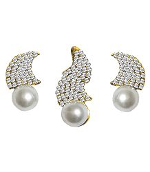 White Zirconia Studded Designer Pendant and Earrings
