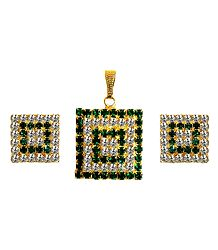 Faux Emerald and Zirconia Studded Pendant Set