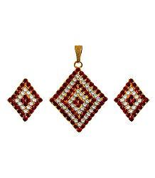 Faux Garnet and Zirconia Studded Pendant Set