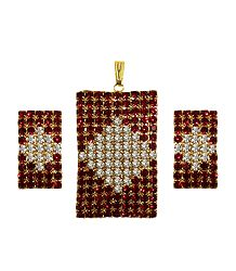 Faux Garnet and Zirconia Pendant Set