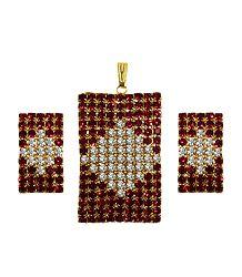 Faux Garnet and Zirconia Pendant Set
