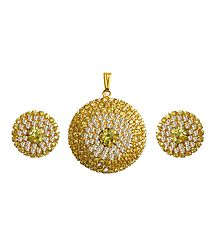 Faux Topaz and Zirconia Studded Pendant Set