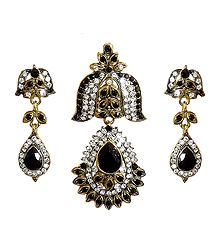 Black and White Stone Studded Pendant and Earrings