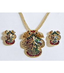 Gold Plated and Meenakari Pendant with Chain and Earrings