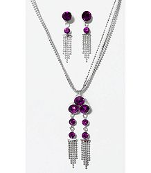 Silver Plated Chain with Magenta Stone Studded Pendant and Earrings