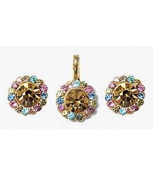 Light Brown and Multicolor Stone Studded Pendant and Earrings