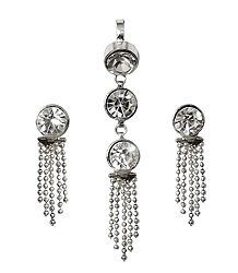 White Stone Studded Pendant and Earrings