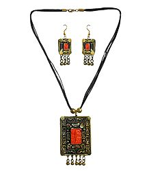 Rectangle Metal Pendant with Earrings