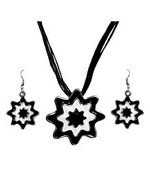 Black and White Metal Flower Pendant with Earrings