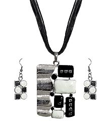 Black and White Rectangle Metal Pendant