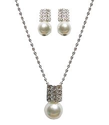White Stone Studded Bead Pendant with Chain and Earrings