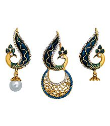 Blue and White Stone Studded Laquered Peacock Pendant and Earrings