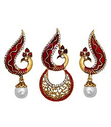Red and White Stone Studded Laquered Peacock Pendant and Earrings