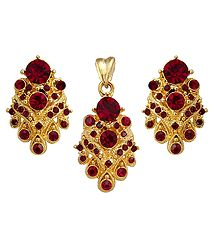 Red Stone Studded Pendant and Earrings