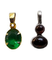 Set of 2 Green and Maroon Stone Studded Pendant