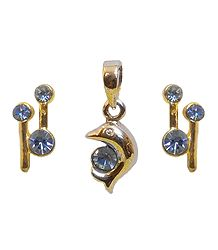 Blue Stone Studded Pendant with Earrings